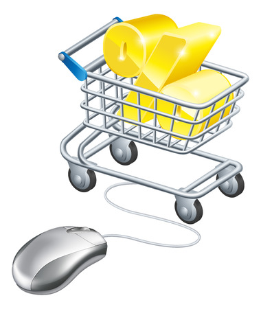 Percentage sign in a shopping trolley with computer mouse connected to it. Concept for shopping for best rates online for savings or credit card or similar Vector