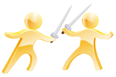 swordfight: Sword fight concept of two gold men fighting with swords Illustration