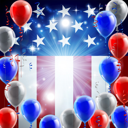 A patriotic American USA 4th July independence day or veterans day background with red white and blue party balloons Vector