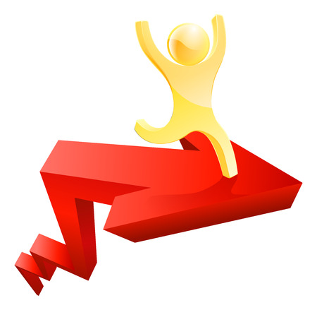 Gold man arrow illustration of a golden character on a red arrow moving up in the air Vector