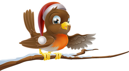 An illustration of a Christmas Robin bird in a Santa hat sitting on a branch and pointing Vector