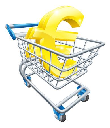 supermarket shopping cart: Euro moneda concepto carro del s�mbolo del euro en un carro de supermercado o carro