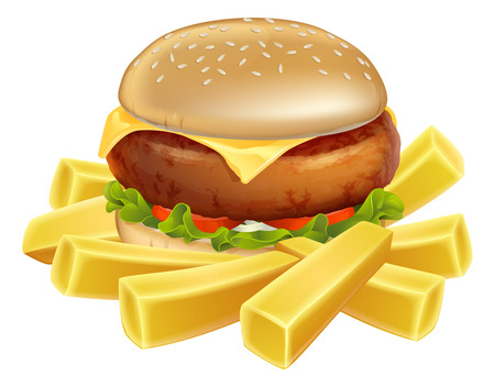 An illustration of a burger and fries or chips  Vector