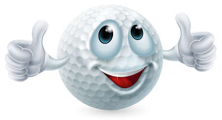 An illustration of a cartoon golf ball character doing a thumbs up Vector