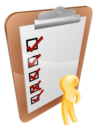 test results: Pensare Appunti persona, guardando un clipboard con i risultati dei test o sondaggio pensare risposte o risultati Vettoriali
