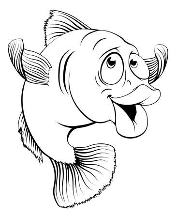 fish and chips: Una ilustraci�n de un lindo feliz bacalao de dibujos animados de pescado en blanco y negro