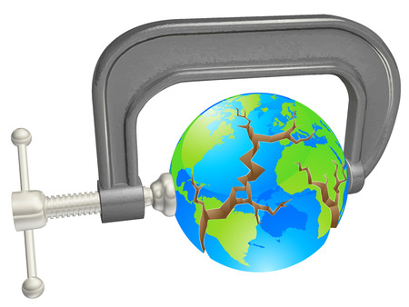 c clamp: Clamp breaking world globe, concept for environmental or other problems