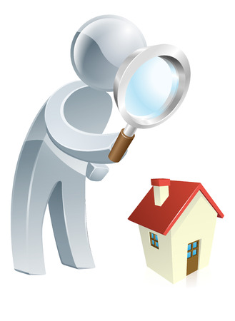 scrutiny: Person looking at a a house with a magnifying glass, could be searching for a house to buy or doing a home survey