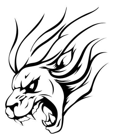 An illustration of a strong angry lion mascot roaring Vector