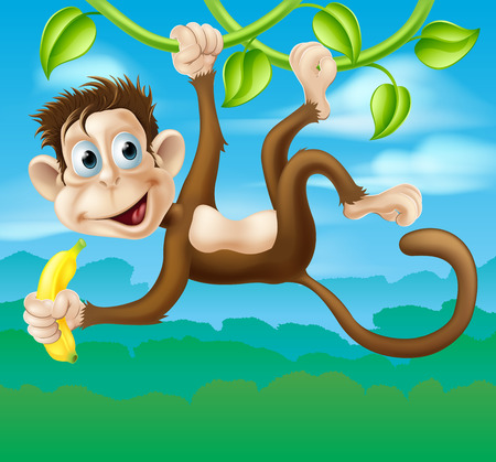 An illustration of a cartoon monkey in the jungle swinging on a vine holding a banana Illustration