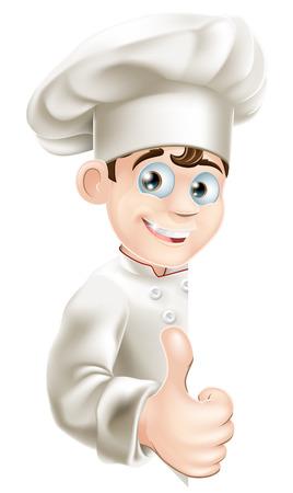 peeping: Una ilustraci�n de un cocinero de la historieta que mira furtivamente alrededor de una muestra y dando un pulgar hacia arriba