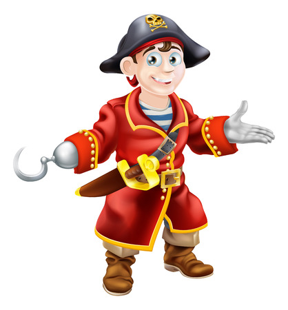 An illustration of a happy young cartoon pirate Vector
