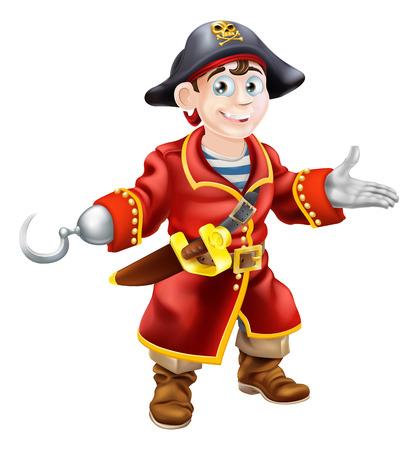 jeunes joyeux: Une illustration d'un jeune pirate de dessin anim� heureux