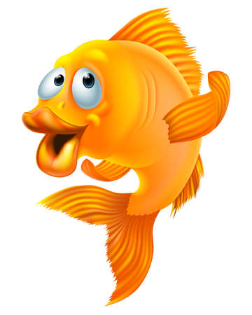 peces de colores: Una ilustración de un personaje de dibujos animados de peces de colores feliz saludando