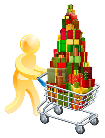 Gift shopper concept of a person pushing shopping trolley cart full of gifts Vector