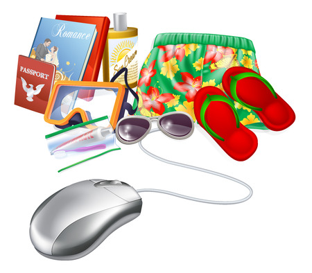 lugage: Online holiday vacation travel sale icon of a computer mouse with holiday vacation items