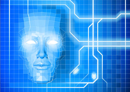 A face technology background abstract concept of a blue face emerging from an electronic grid  Vector