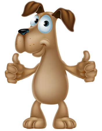 An illustration of a cute cartoon dog mascot character giving a thumbs up