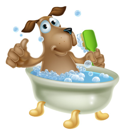 An illustration of a cute cartoon dog mascot character having a bath in a bubble bath with back scrubber Illustration
