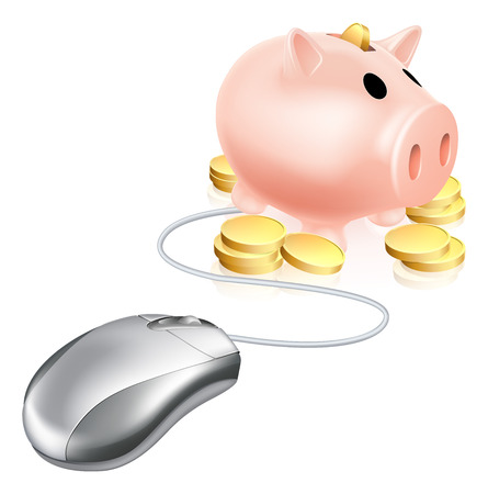 Computer mouse connected to piggy bank with gold coins. Concept for searching the internet for savings or investments accounts or similar Vector