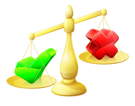 Choosing yes concept of a scales with a cross on one side and a tick on the other, the tick outweighing the tick Stock Vector - 29836932