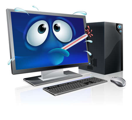malware: Broken cartoon desktop computer, cartoon of a poorly computer with a bursting thermometer in its mouth. Could be a broken computer or one that has a virus or other malware Illustration