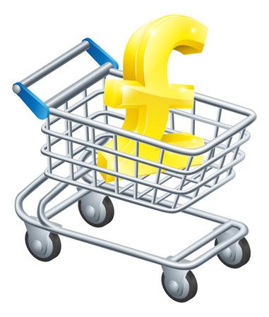 supermarket shopping cart: Concepto carro moneda esterlina de signo Libra en un carro de supermercado o carro