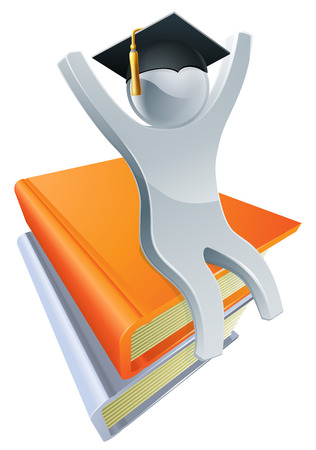 convocation: An illustration of a silver person on a stack of books wearing a gradates mortar board