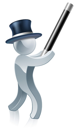 tophat: Silver mascot magician cartoon of a man with a wand and tophat