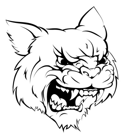 A black and white illustration of a fierce wildcat animal character or sports mascot Vector