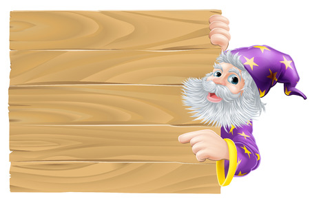 kindly: Cartoon wizard pointing sign, a kindly wizard in purple robes with stars pointing at a sign