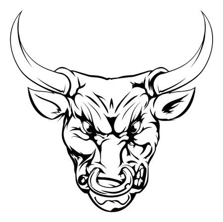 ferocious: A black and white illustration of a fierce bull animal character or sports mascot