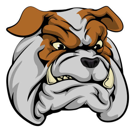 ferocious: An illustration of a fierce bulldog animal character or sports mascot