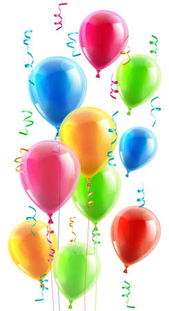 An illustration of a set of colourful birthday or party balloons, ribbons and streamers Vector