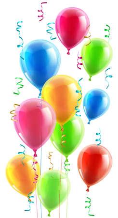mid air: Una ilustraci�n de un conjunto de coloridos cumplea�os o fiesta globos, cintas y serpentinas