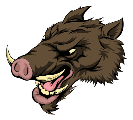 eber: Eine Abbildung von einem heftigen Wildschwein Tiercharakter oder Sport-Maskottchen