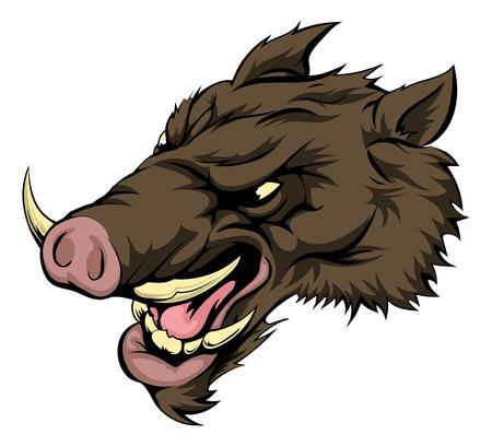 sanglier: Une illustration d'un caractère féroce animal de sanglier ou la mascotte de sport