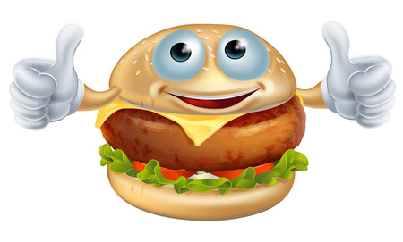 Cartoon burger man fast food mascot character doing a thumbs up Vector