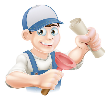 Plumber or janitor with certificate, qualification or other scroll and plunger. Education concept for being professionally qualified or certificated.