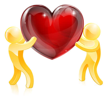 Two gold people holding a giant heart or one passing it to the other. Love or heart health concept Vector