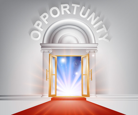 opportunity concept: Opportunity door concept of a fantastic white marble door with columns and a red carpet with light streaming through it. Illustration