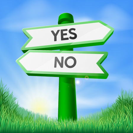 yes no: Yes or no sign concept with a choice to make