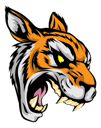 An illustration of a fierce tiger animal character or sports mascot Illustration