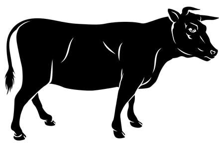 An illustration of a cow or bull, could be a food label or menu icon for beef Vector