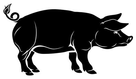 An illustration of a pig, could be a food label or menu icon for pork Vector