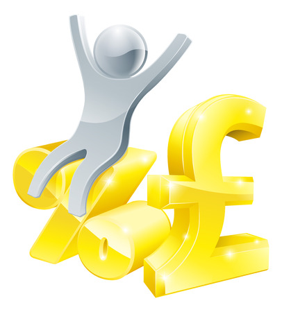 percentage sign: Illustration of pound sign and percentage sign with happy person sitting on it, found the best interest rate, a sale or similar