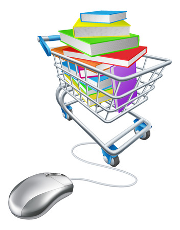 shoppingcart: Online education or internet book shopping concept of a computer mouse connected to a shopping cart or trolley full of books Illustration