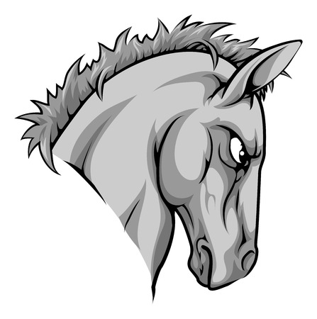 fierce: An illustration of a fierce horse animal character or sports mascot