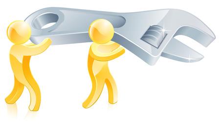 mechanic man: Gold mascot men holding a huge wrench or spanner