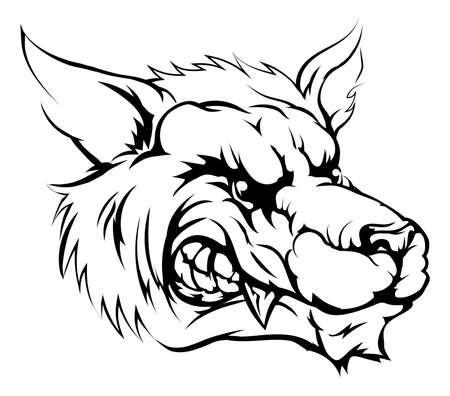 A black and white illustration of a fierce wolf animal character or sports mascot Illustration